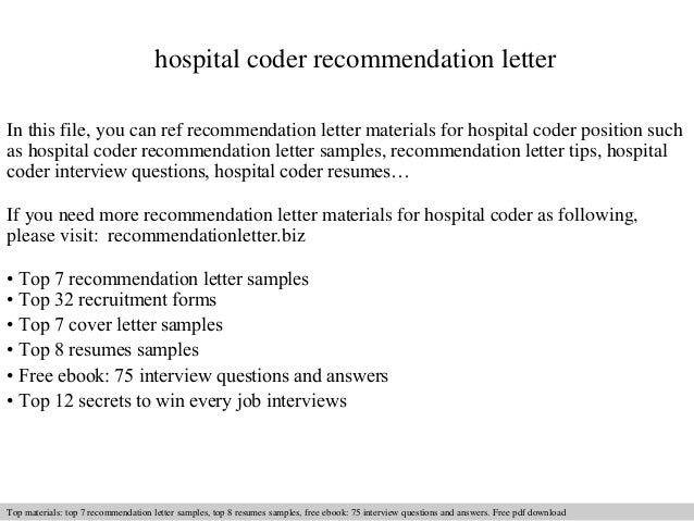 Hospital Coder Recommendation Letter In This File, You Can Ref Recommendation  Letter Materials For Hospital ...
