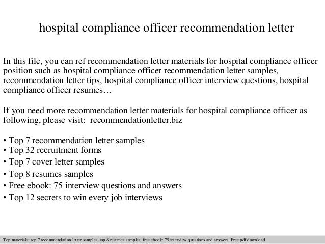 hospital compliance officer recommendation letter