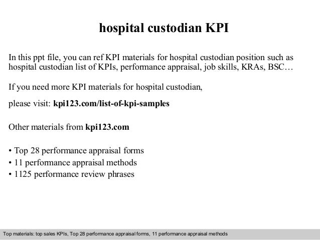hospital custodian kpi in this ppt file you can ref kpi materials for hospital custodian