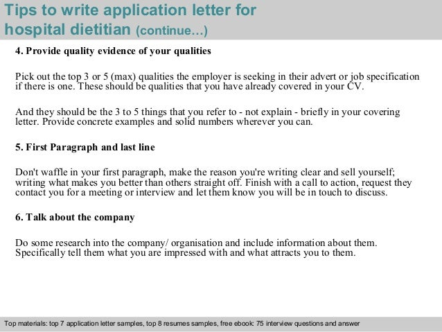 Hospital dietitian application letter