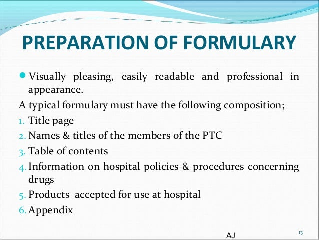 how to develop a drug formulary