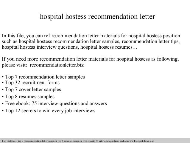 Hospital Hostess Recommendation Letter In This File, You Can Ref  Recommendation Letter Materials For Hospital ...
