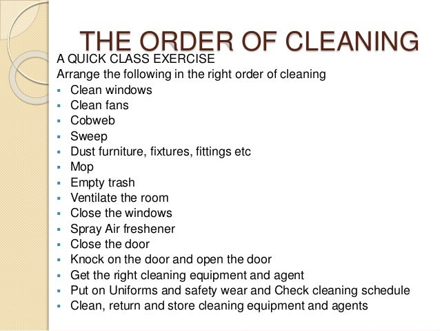 hospital cleaning checklist
