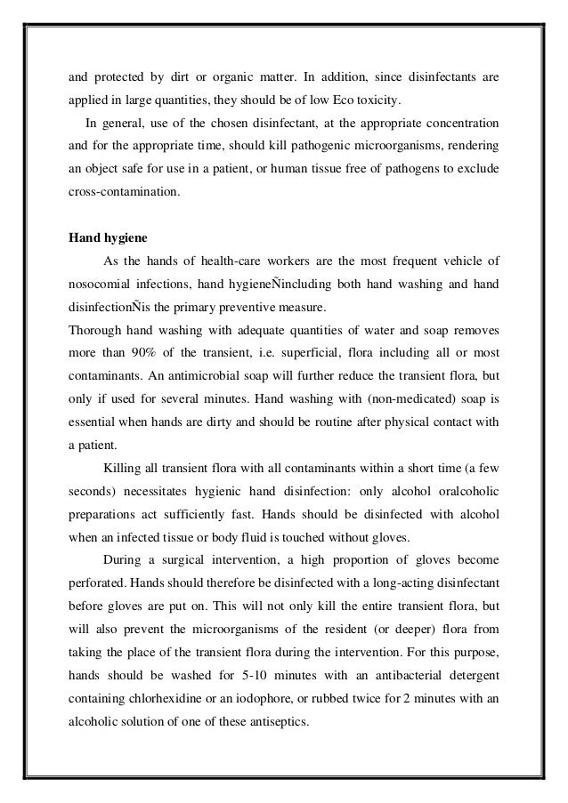 hygiene and infection control essay Basic infection control and prevention plan for outpatient oncology settings environmental hygiene in healthcare what you can do to be a safe patient.
