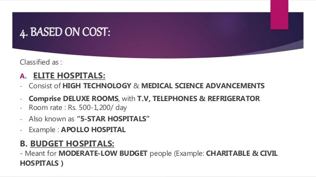 4. BASED ON COST: Classified as : A. ELITE HOSPITALS: - Consist of HIGH TECHNOLOGY & MEDICAL SCIENCE ADVANCEMENTS - Compri...