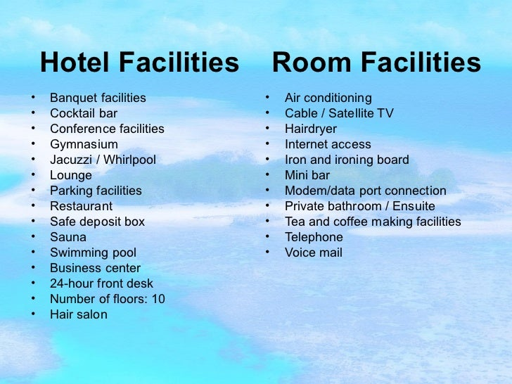 Hotel Room Facilities List