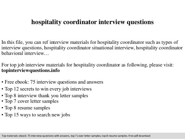Resume Sample Resume For Hospitality Coordinator hospitality coordinator interview questions in this file you can ref materials for coordinator