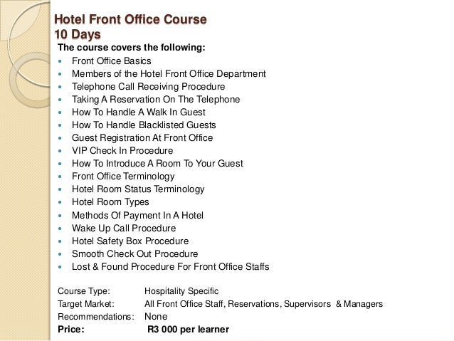 Hotel front Office sop manual