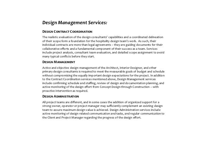 Design Management ServicesDesign Contract