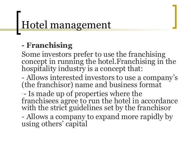 definition of franchising in hospitality The multi-unit franchise is a form of franchising that has increased in popularity, frequency, and influence over the past few decades under this model, the franchisor will often bring in operating principals to run each individual location.