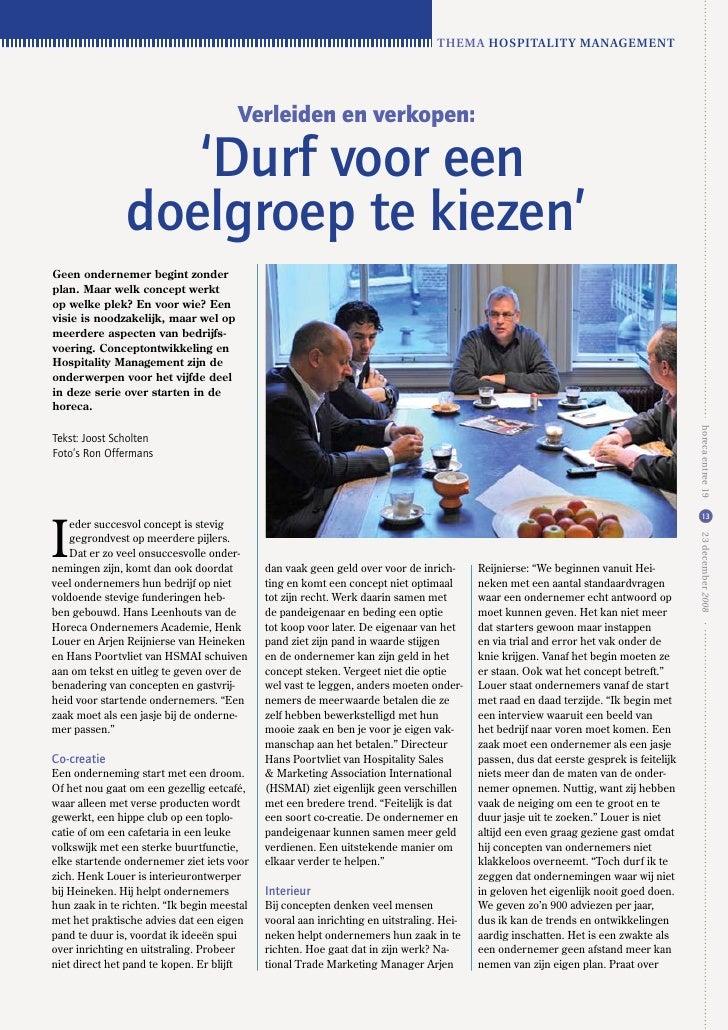 Thema hospiTaliTy managemenT                                           Verleiden en verkopen:                    'Durf voo...