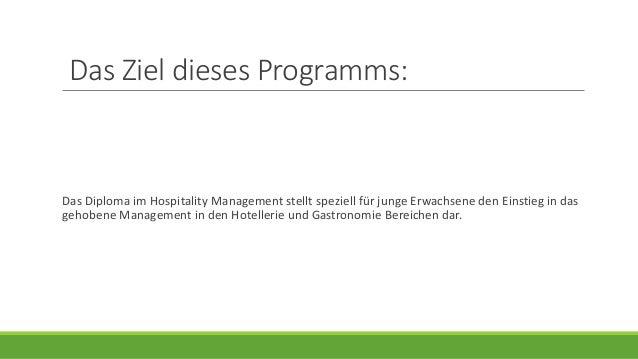 Hospitality management in der schweiz