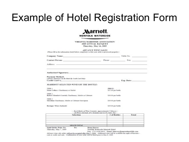Hospitality report example of hotel registration form 37 altavistaventures Image collections