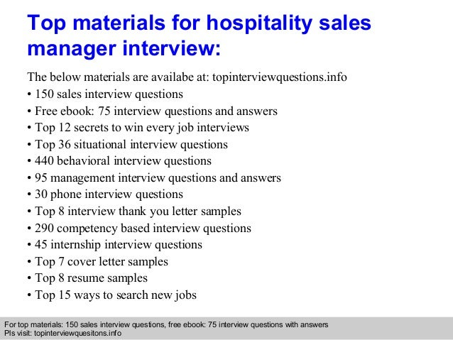 Hospitality sales manager interview questions and answers