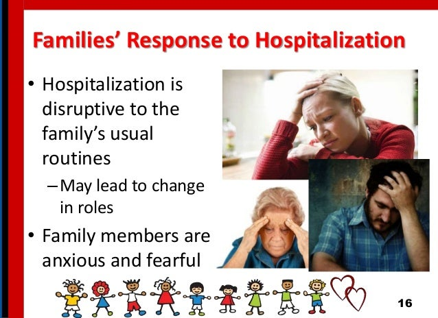 Families' Response to Hospitalization • Hospitalization is disruptive to the family's usual routines –May lead to change i...