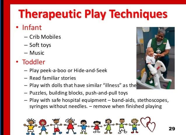 Therapeutic Play Techniques • Infant – Crib Mobiles – Soft toys – Music • Toddler – Play peek-a-boo or Hide-and-Seek – Rea...