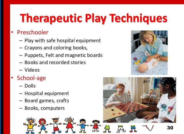 Therapeutic Play Techniques • Preschooler – Play with safe hospital equipment – Crayons and coloring books, – Puppets, Fel...