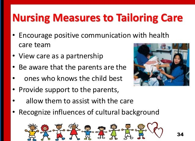 Nursing Measures to Tailoring Care • Encourage positive communication with health care team • View care as a partnership •...