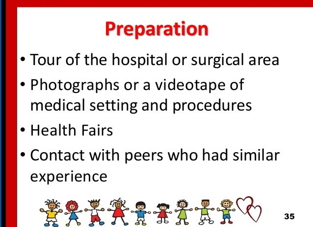Preparation • Tour of the hospital or surgical area • Photographs or a videotape of medical setting and procedures • Healt...