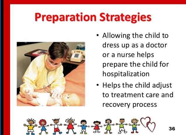 Preparation Strategies • Allowing the child to dress up as a doctor or a nurse helps prepare the child for hospitalization...