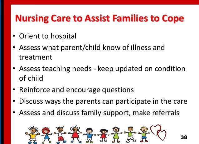 Nursing Care to Assist Families to Cope • Orient to hospital • Assess what parent/child know of illness and treatment • As...