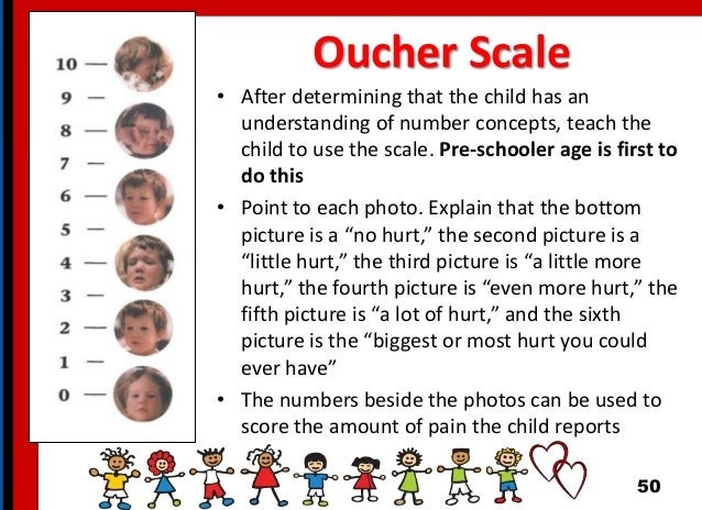 Oucher Scale • After determining that the child has an understanding of number concepts, teach the child to use the scale....