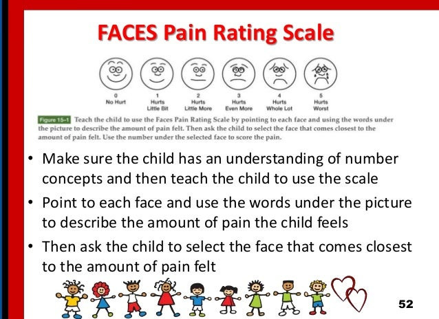FACES Pain Rating Scale • Make sure the child has an understanding of number concepts and then teach the child to use the ...