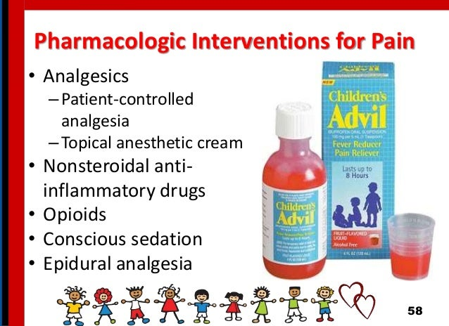 Pharmacologic Interventions for Pain • Analgesics –Patient-controlled analgesia –Topical anesthetic cream • Nonsteroidal a...
