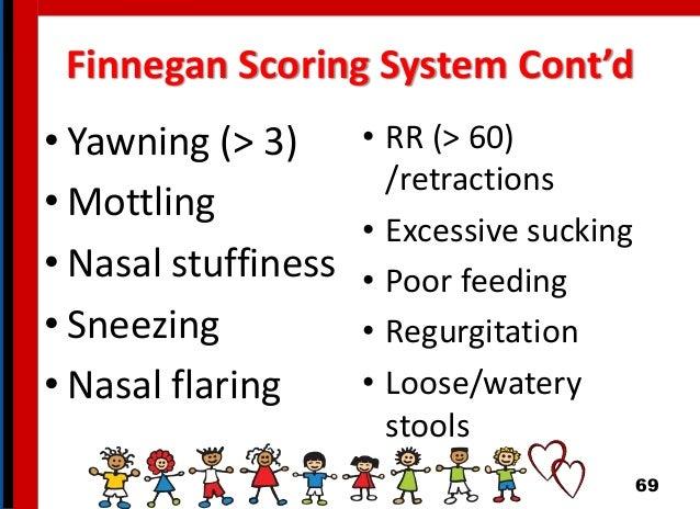 Finnegan Scoring System Cont'd • Yawning (> 3) • Mottling • Nasal stuffiness • Sneezing • Nasal flaring • RR (> 60) /retra...