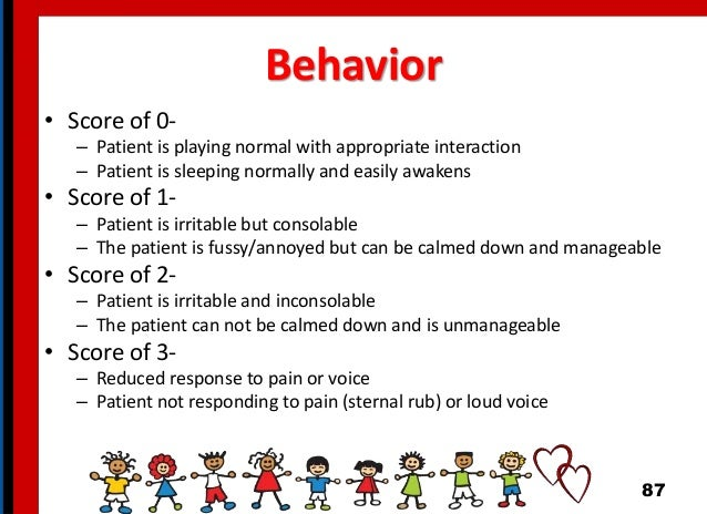 Behavior • Score of 0- – Patient is playing normal with appropriate interaction – Patient is sleeping normally and easily ...