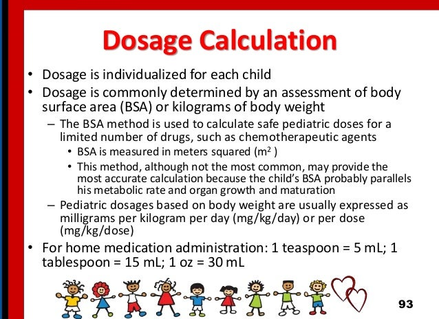 Dosage Calculation • Dosage is individualized for each child • Dosage is commonly determined by an assessment of body surf...