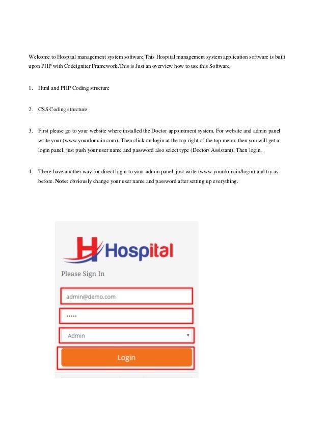 Hospital Management System Software User Guide - Doctorss