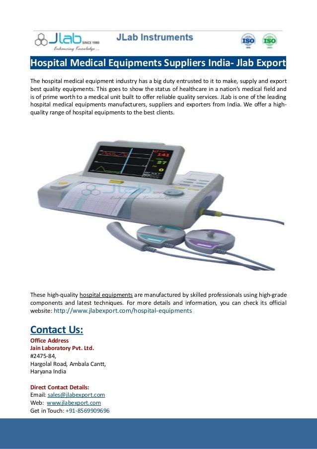 Hospital Medical Equipments Suppliers India- Jlab Export