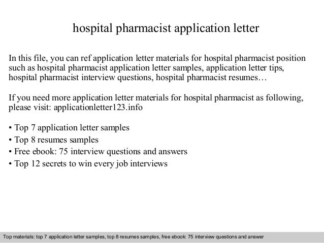 Hospital Pharmacist Application Letter In This File, You Can Ref Application  Letter Materials For Hospital ...  Pharmacist Cover Letter