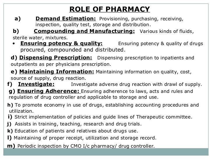 role - Pharmacist Duties