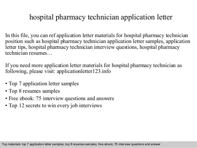 Hospital Pharmacy Technician Application Letter In This File, You Can Ref  Application Letter Materials For Application Letter Sample ...