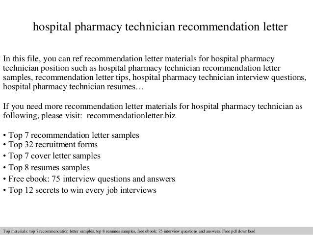 Hospital pharmacy technician recommendation letter – Sample Pharmacist Letter
