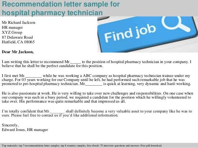 Hospital pharmacy technician recommendation letter
