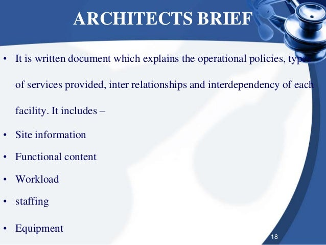 house design brief template for architect - hospital planning and designing