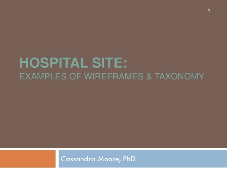 1     HOSPITAL SITE: EXAMPLES OF WIREFRAMES & TAXONOMY            Cassandra Moore, PhD