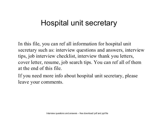 Interview Questions And Answers Free Download Pdf Ppt File Hospital Unit Secretary In