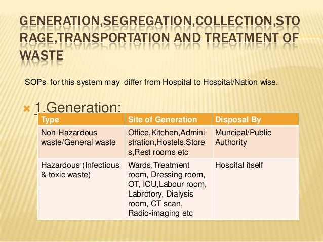 GENERATION,SEGREGATION,COLLECTION,STO RAGE,TRANSPORTATION AND TREATMENT OF WASTE SOPs for this system may differ from Hosp...