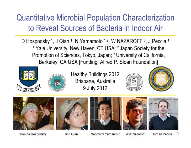 Quantitative Microbial Population Characterization   to Reveal Sources of Bacteria in Indoor Air D Hospodsky 1, J Qian 1, ...