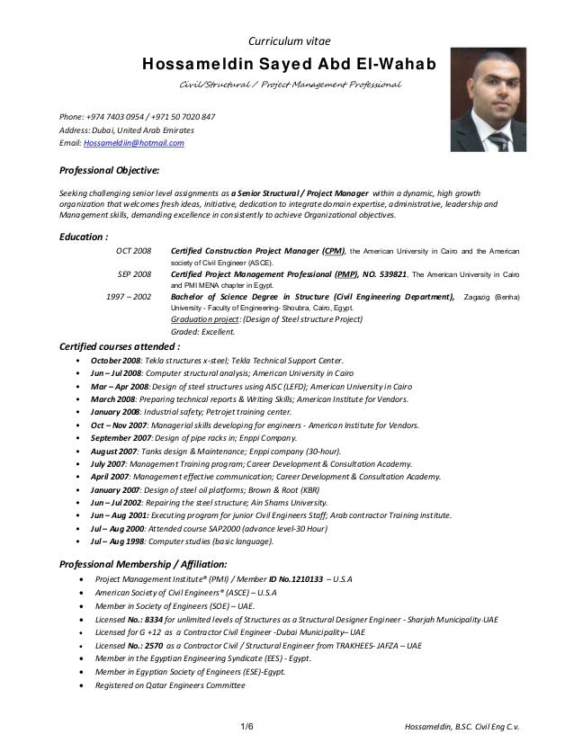 HossamCivil Structural Engineer Cover LetterCvResume