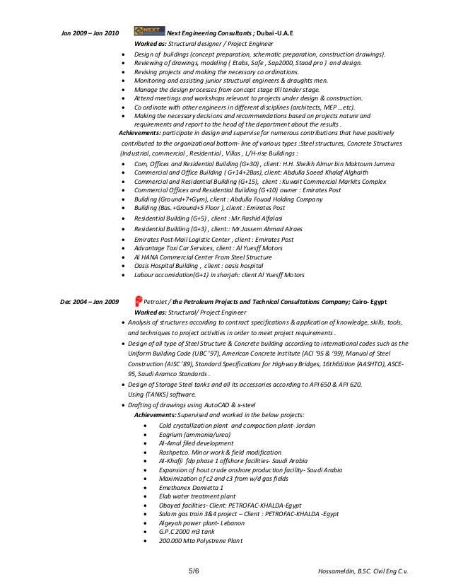 Hossam Civil Structural Engineer Cover Letter Cv Resume 3