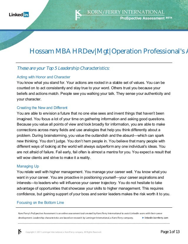 ProSpective Assessment           Hossam MBA HRDev Mgt Operation Professionals AThese are your Top 5 Leadership Characteris...