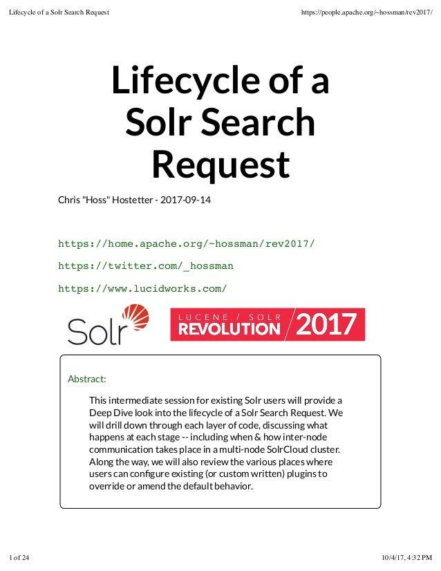"Lifecycle of a Solr Search Request Chris ""Hoss"" Hostetter - 2017-09-14 https://home.apache.org/~hossman/rev2017/ https://t..."