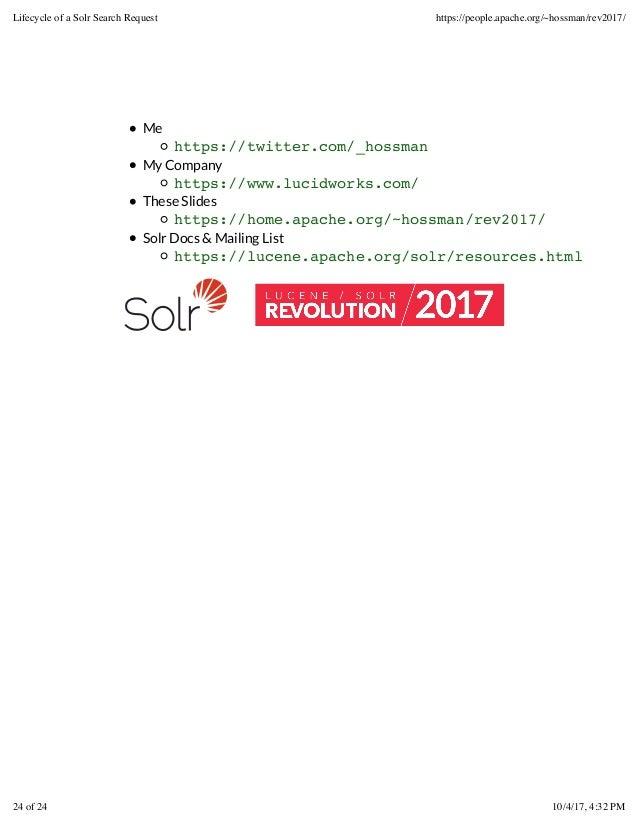 Me https://twitter.com/_hossman My Company https://www.lucidworks.com/ These Slides https://home.apache.org/~hossman/rev20...