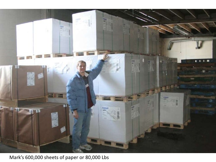 Mark's 600,000 sheets of paper or 80,000 Lbs