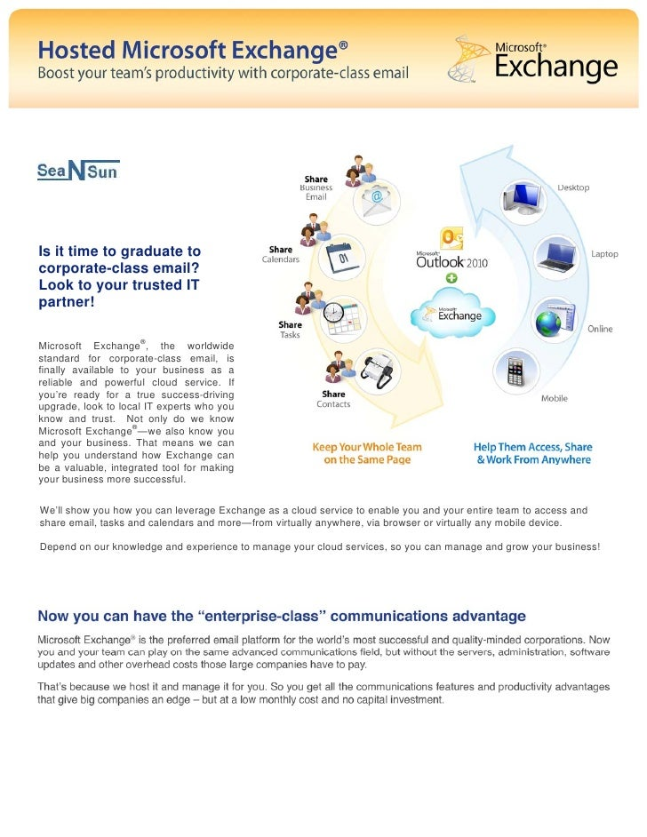 Is it time to graduate tocorporate-class email?Look to your trusted ITpartner!Microsoft Exchange®, the worldwidestandard f...